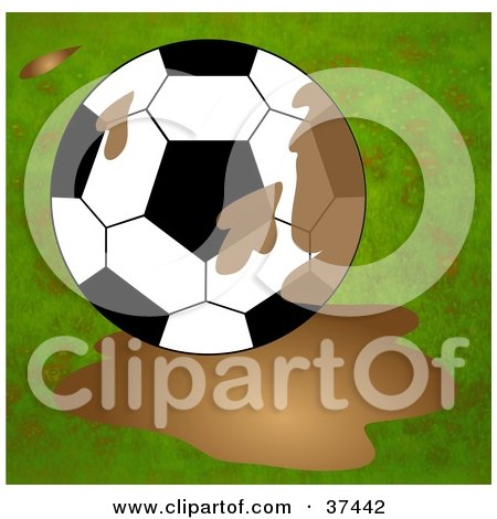 Clipart Illustration of a Soccer Ball In A Mud Puddle by Prawny