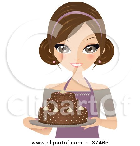 Clipart Illustration of a Pretty Female Cake Baker Presenting A Beautiful Chocolate Cake On A Platter by Melisende Vector
