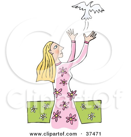 Clipart Illustration of a Gentle Woman In A Floral Dress, Releasing A White Dove Into The Air by Lisa Arts