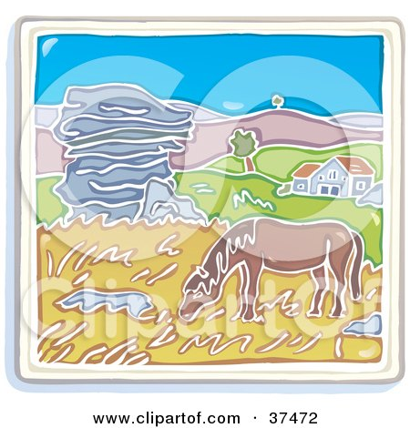 Horse Grazing On Grasses Near A Home With Rolling Hills In The Background Posters, Art Prints