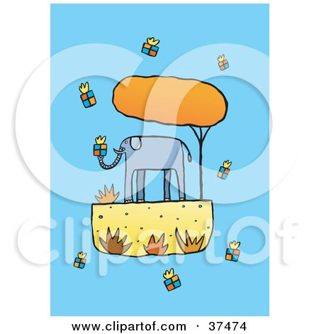 Clipart Illustration of a Giving Elephant Surrounded By Gifts by Lisa Arts