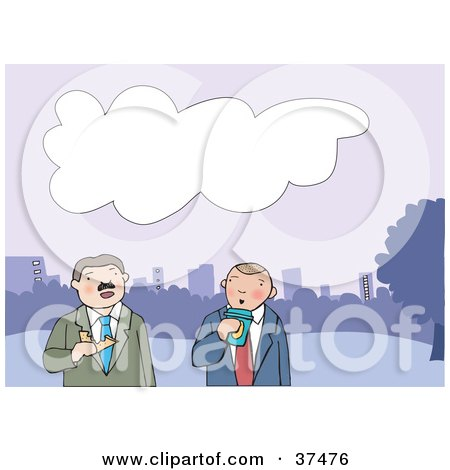 Clipart Illustration of Two Business Men Walking, Drinking Coffee And Eating Lunch With A City Skyline In The Background by Lisa Arts