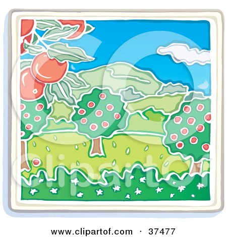 Clipart Illustration of an Apple Tree Orchard Growing Red Fruits With Mountains In The Distance by Lisa Arts