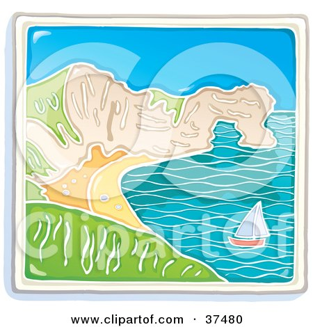 Clipart Illustration of a Sailboat Near A Curving Coastline On A Sunny Day by Lisa Arts