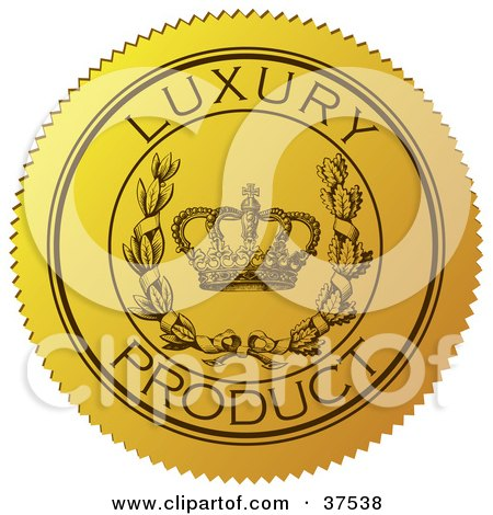 Clipart Illustration of a Yellow Luxury Product Sticker With A Crown And Laurel by Eugene