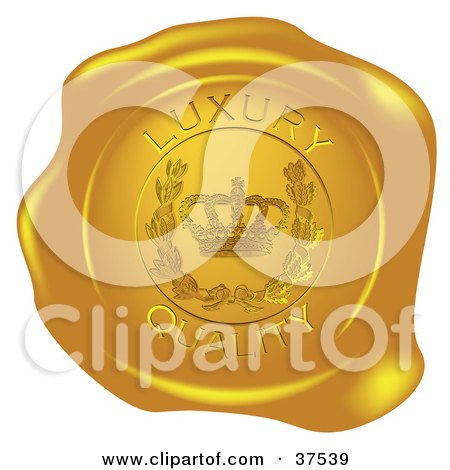Clipart Illustration of a Golden Shiny Luxury Quality Wax Seal by Eugene