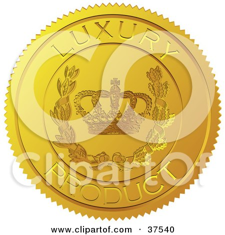 Golden Shiny Luxury Product Sticker With A Crown And Laurel Posters, Art Prints