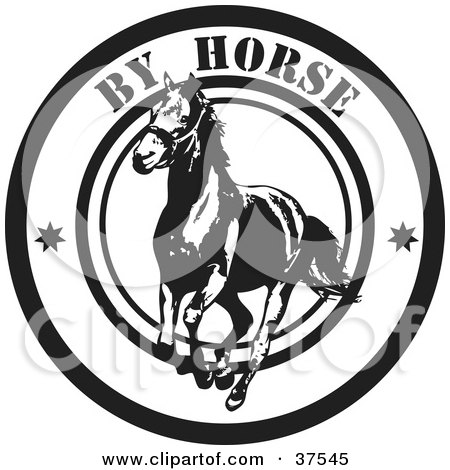 Clipart Illustration of a Black And White By Horse Delivery Seal by Eugene