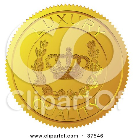 Clipart Illustration of a Golden Shiny Luxury Quality Sticker With A Crown And Laurel by Eugene