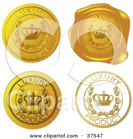 Four Gold Luxury Product Sticker And Wax Seals Posters, Art Prints