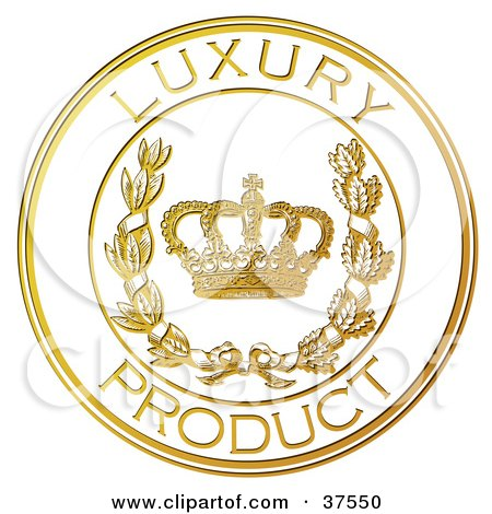 Clipart Illustration of a Golden Embossed Luxury Product Seal With A Crown And Laurel by Eugene