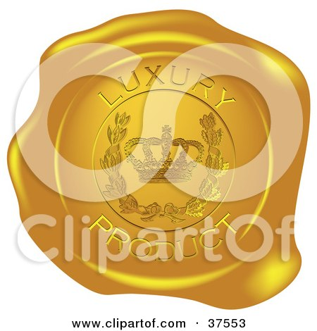 Clipart Illustration of a Golden Shiny Luxury Product Wax Seal by Eugene