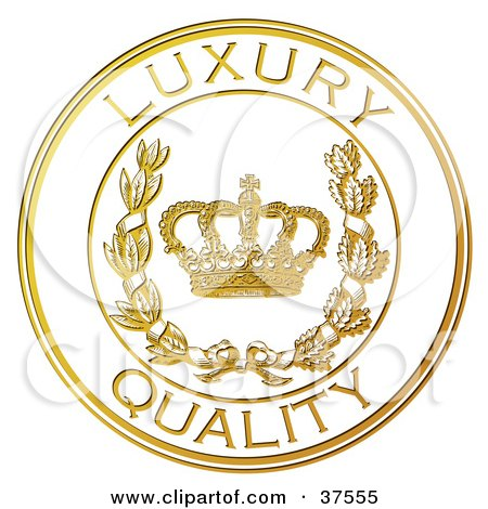 Clipart Illustration of a Golden Embossed Luxury Quality Seal With A Crown And Laurel by Eugene