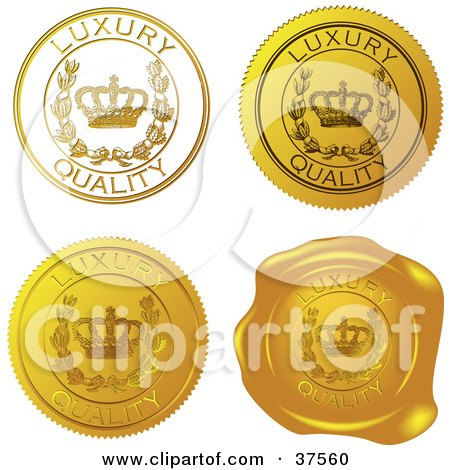 Clipart Illustration of Four Gold Luxury Quality Sticker And Wax Seals by Eugene