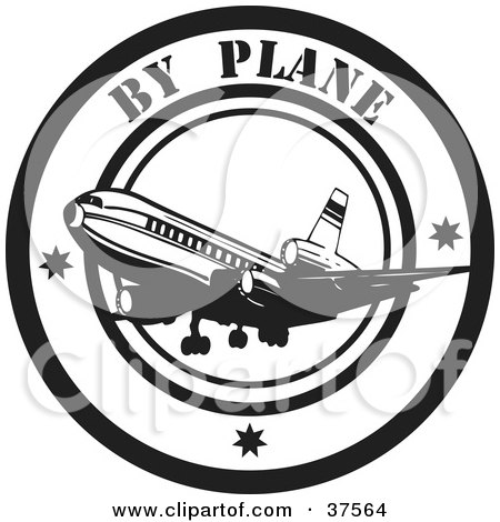 Clipart Illustration of a Black And White By Plane Delivery Seal by Eugene