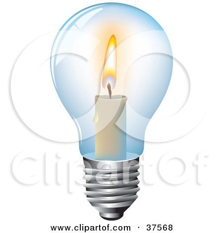 Clipart Illustration of a Burning Candle Inside A Clear Glass Light Bulb by Eugene
