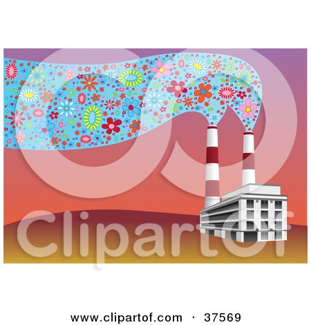 Clipart Illustration of Factory Smoke Stacks Emitting Floral Smoke In The Air At Sunset by Eugene