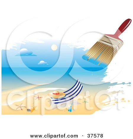 Clipart Illustration of a Paintbrush Painting A Scene Of A Hat On A Beach Towel With A Beverage And Starfish by Eugene