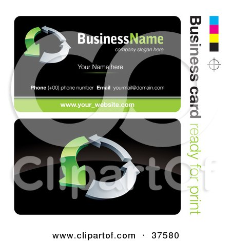 Clipart Illustration of a Pre-Made Green And Silver Arrow Business Card Design With The Front And Back And A Black Background by beboy
