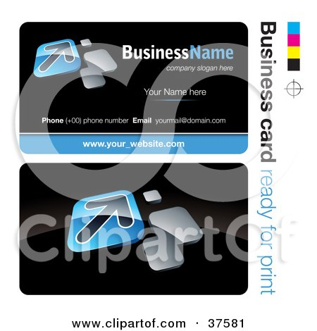 Clipart Illustration of a Pre-Made Blue Arrow Business Card Design With The Front And Back And A Black Background by beboy
