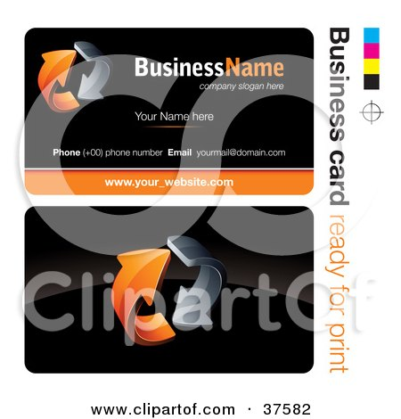Clipart Illustration of a Pre-Made Orange Arrow Business Card Design With The Front And Back And A Black Background by beboy