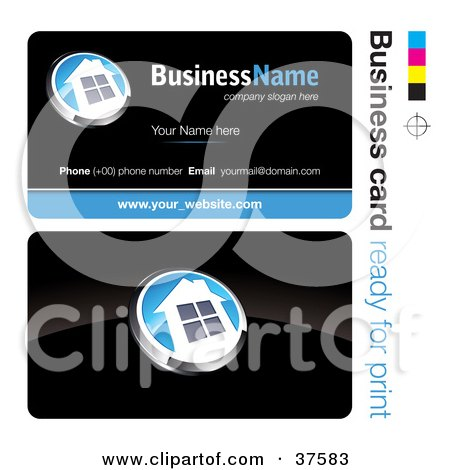 Clipart Illustration of a Pre-Made White And Blue House Button Business Card Design With The Front And Back And A Black Background by beboy