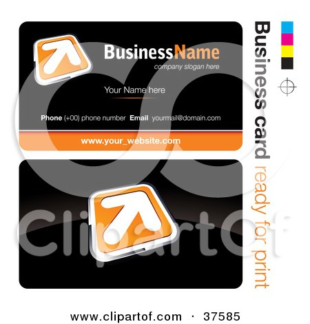 Clipart Illustration of a Pre-Made Orange Arrow Button Business Card Design With The Front And Back And A Black Background by beboy