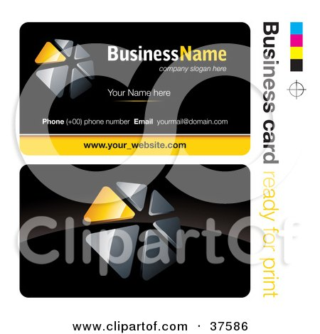Clipart Illustration of a Pre-Made Yellow Triangular Dial Business Card Design With The Front And Back And A Black Background by beboy