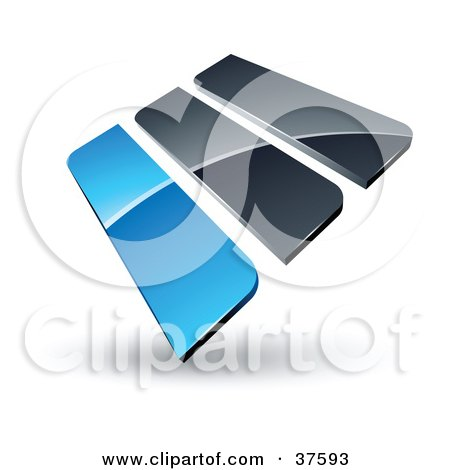 Clipart Illustration of a Pre-Made Logo Of Blue And Gray Bars by beboy