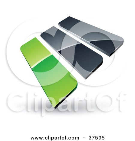 Clipart Illustration of a Pre-Made Logo Of Green And Gray Bars by beboy