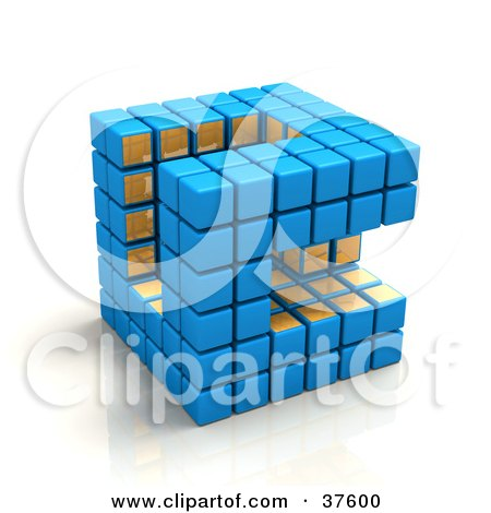 Clipart Illustration of a Blue And Gold Cubic Diagramatic Structure On A Reflective White Surface by Tonis Pan