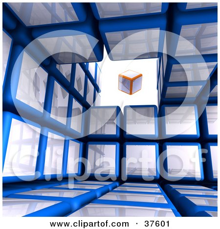 Clipart Illustration of an Orange And White Box Cube Floating In An Opening Of A Blue Cubic Diagramatic Structure by Tonis Pan