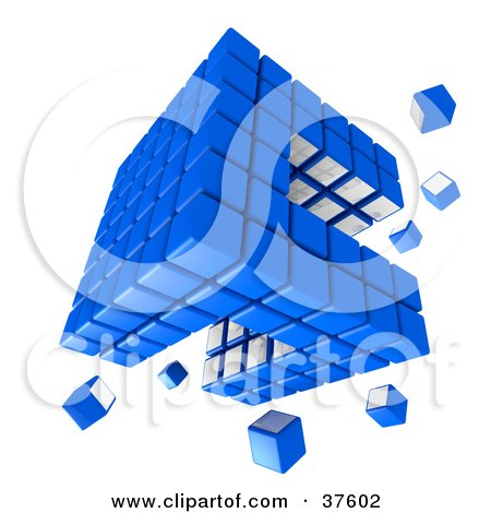 Spare Pieces Floating Around A Blue And White Cubic Diagramatic Structure Posters, Art Prints