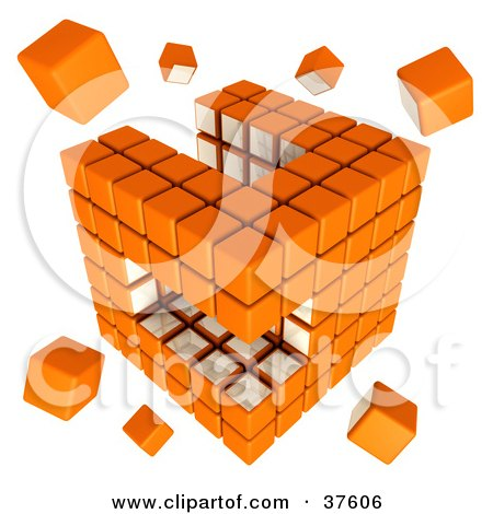 Clipart Illustration of Loose Pieces Floating Around An Orange And White Cubic Diagramatic Structure by Tonis Pan