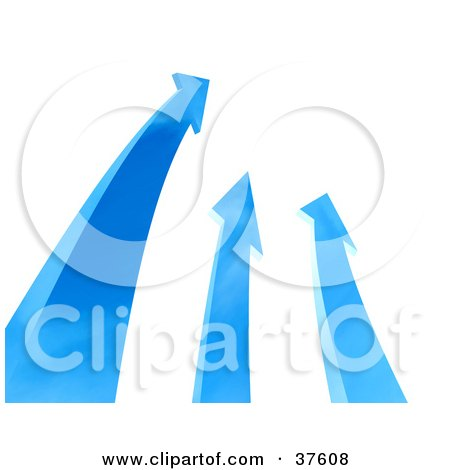 Clipart Illustration of Three Blue Arrows Shooting Upwards by Tonis Pan