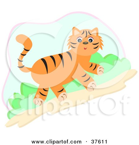 Clipart Illustration of a Cute Tiger Walking Uphill by ...