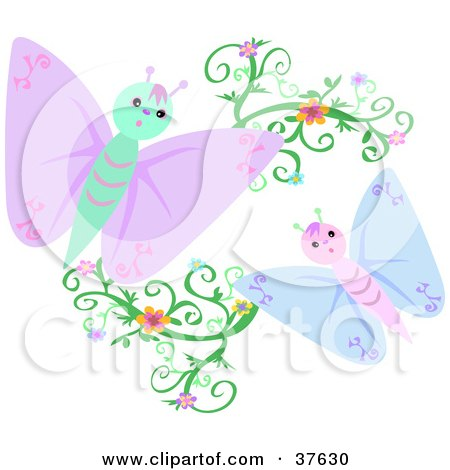 Blue And Purple Butterflies With Floral Vines Posters, Art Prints