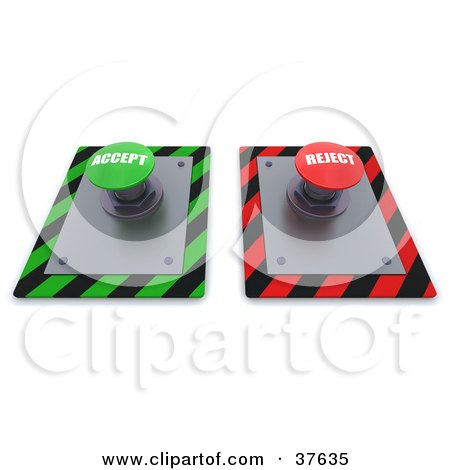 Clipart Illustration of Green And Red Accept And Reject Push Buttons On A Control Panel by KJ Pargeter