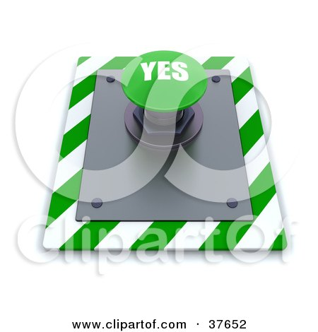 Clipart Illustration of a Green Yes Push Button On A Control Panel by KJ Pargeter