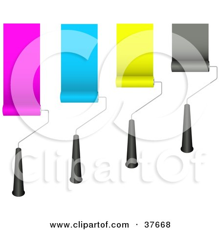 Clipart Illustration of Four Rolling Paint Brushes Painting Pink, Blue, Yellow And Black Strips On A Wall by KJ Pargeter