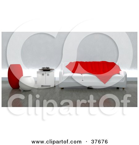 Clipart Illustration of a Red Throw Tossed On A Modern White Sofa With A Side Table And Vases In A Contemporary Living Room by KJ Pargeter