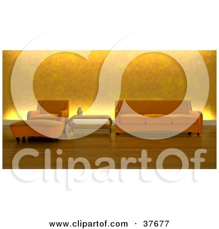Clipart Illustration of a Modern Orange Arm Chair And Ottoman With A Table And Couch In A Living Room With Wood Flooring And Golden Lighting by KJ Pargeter