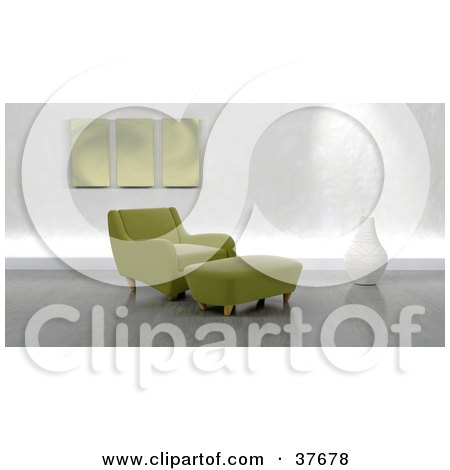 Clipart Illustration Of A Modern Green Arm Chair And Ottoman In A Living Room With Gray Flooring by KJ Pargeter