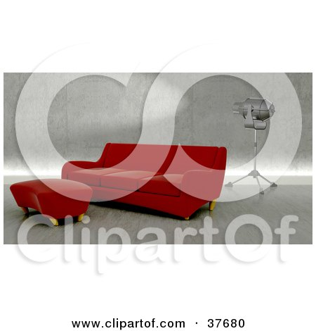 Clipart Illustration of a Modern Red Sofa And Ottoman In An Upscale Living Room With A Light by KJ Pargeter