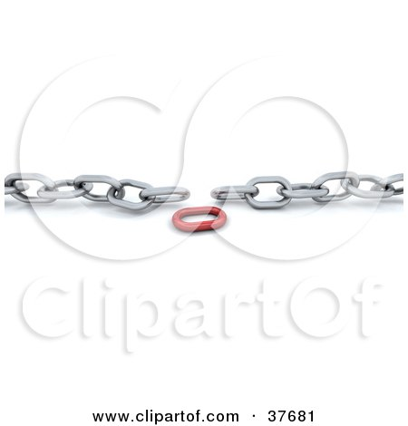 Clipart Illustration of a Red Link Between A Disconnected Silver Chain by KJ Pargeter