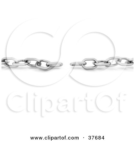 Clipart Illustration of a Disconnected Silver Chain by KJ Pargeter
