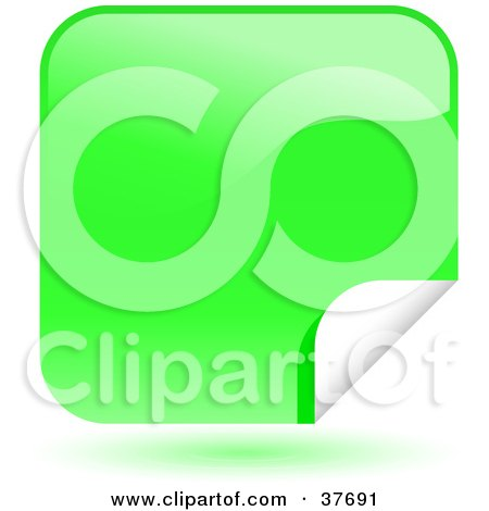 Clipart Illustration of a Green Shiny Peeling Sticker Labels by KJ Pargeter