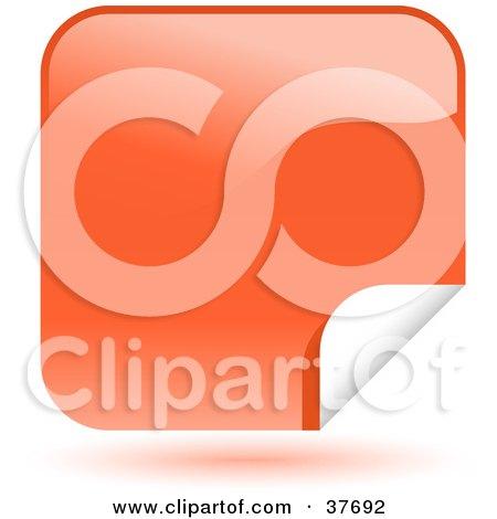 Clipart Illustration of an Orange Shiny Peeling Sticker Labels by KJ Pargeter