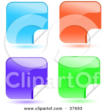 Clipart Illustration of Four Blue, Orange And Green Shiny Peeling Sticker Labels by KJ Pargeter