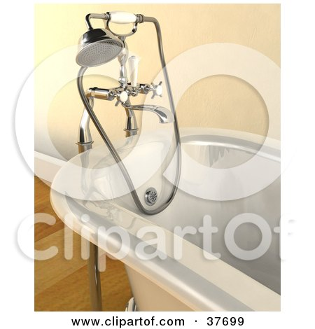 Clipart Illustration of a Shower Head And Hose Attachment On A Modern Bath Tub by KJ Pargeter